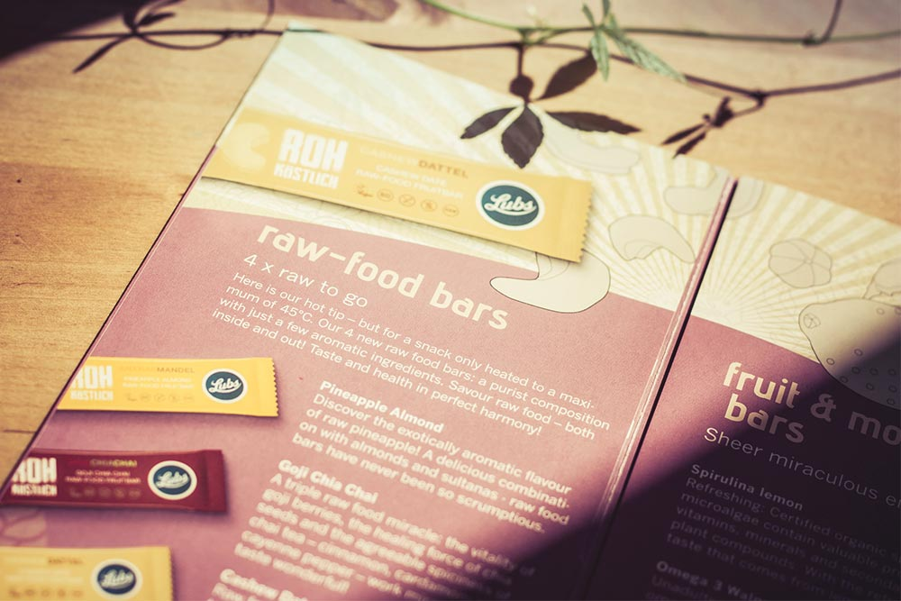 Lubs Raw-food bar packaging flyer - Björn Siems